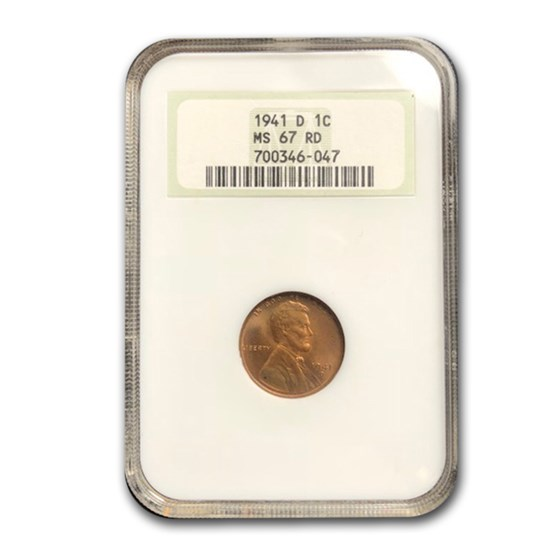 1941-D Lincoln Cent MS-67 NGC (Red)