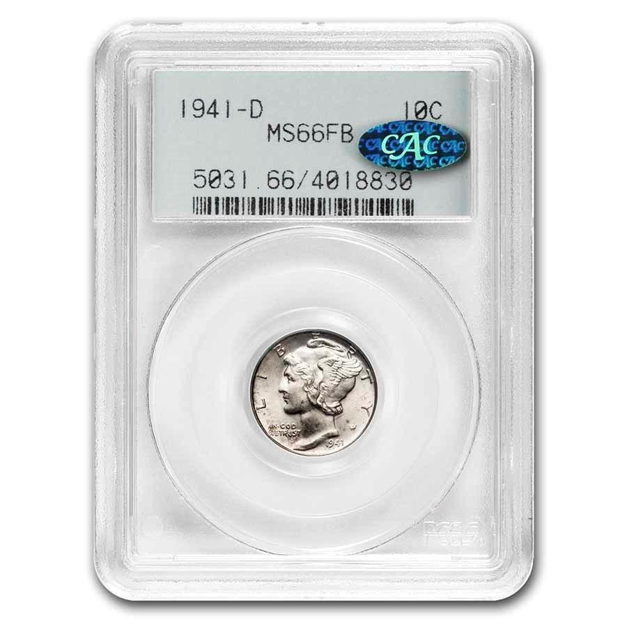 1941-D Mercury Dime MS-66 PCGS CAC (Full Bands)