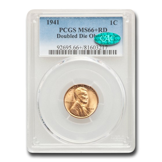 1941 Lincoln Cent MS-66+ PCGS CAC (Red, Doubled Die Obverse)