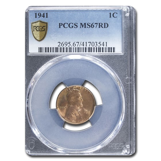 1941 Lincoln Cent MS-67 PCGS (Red)