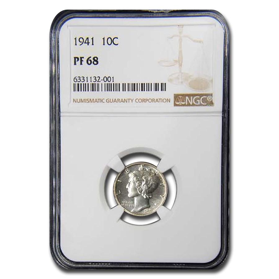 1941 Mercury Dime PF-68 NGC