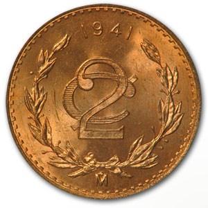 1941 Mexico 2 Centavos Bronze BU Red KM#419