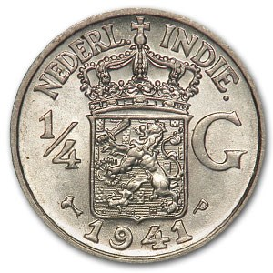 1941-P Netherlands East Indies Silver 1/4 Gulden BU