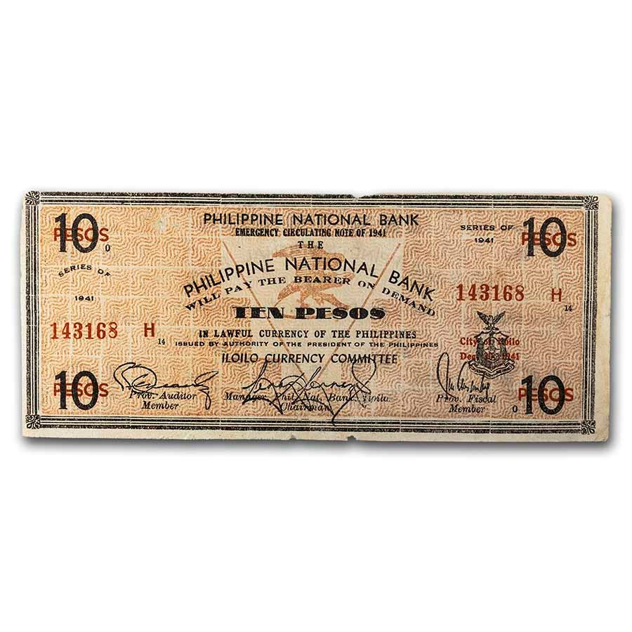 1941 Philippines Guerilla Currency 10 Pesos Note VF