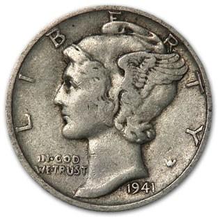 1941-S Mercury Dime XF