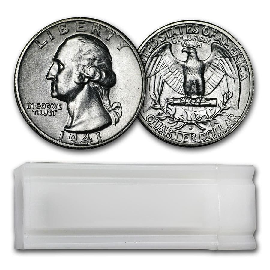 1941-S Washington Quarter 40-Coin Roll BU