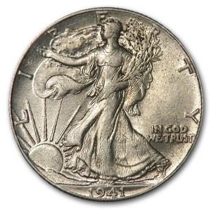 1941 Walking Liberty Half Dollar AU