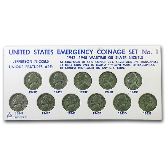1942-1945 35% Silver Wartime Nickel Set - Avg Circulated