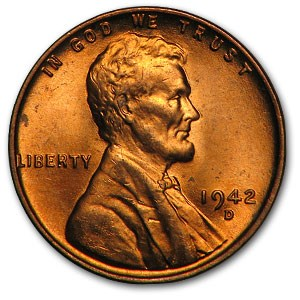 1942-D Lincoln Cent BU (Red)
