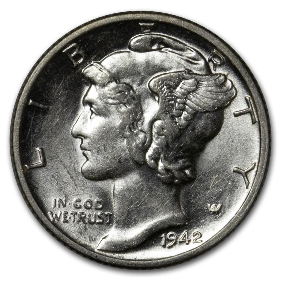 1942-D Mercury Dime AU