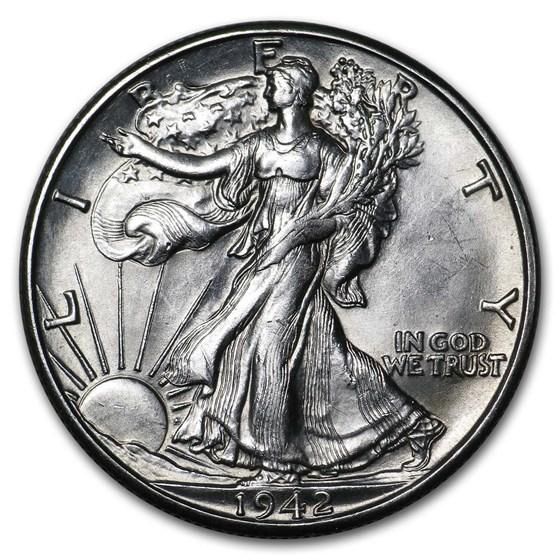 1942-D Walking Liberty Half Dollar AU