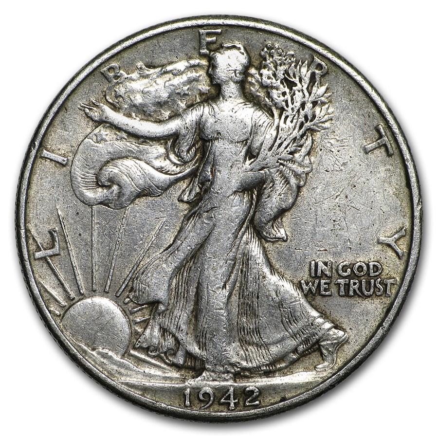 1942-D Walking Liberty Half Dollar Fine/VF