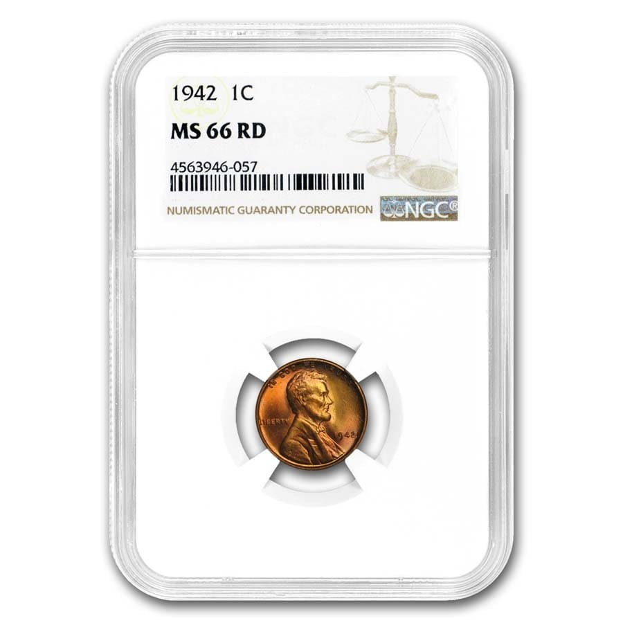 1942 Lincoln Cent MS-66 NGC (Red)