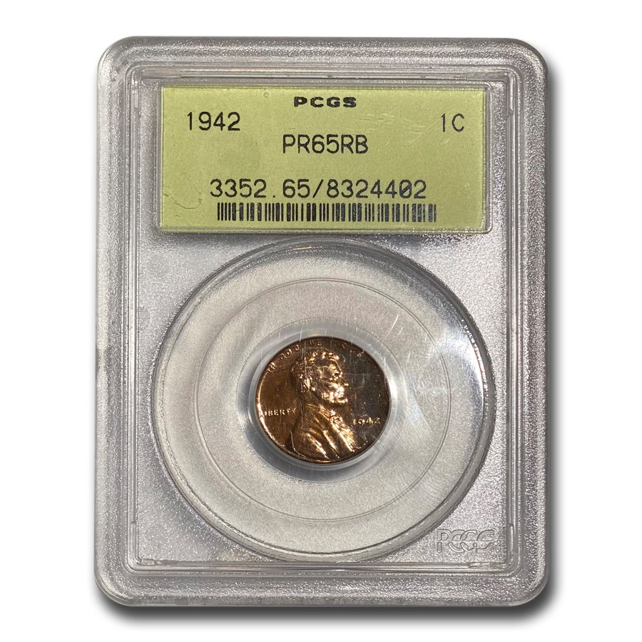 1942 Lincoln Cent PR-65 PCGS (Red/Brown)