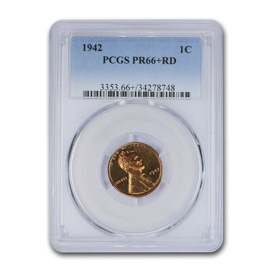 1942 Lincoln Cent PR-66+ PCGS (Red)