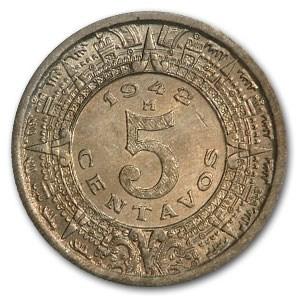 1942-M Mexico 5 Centavos BU KM#423