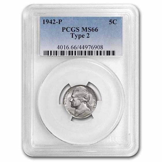 1942-P Silver Jefferson Nickel Type-2 MS-66 PCGS