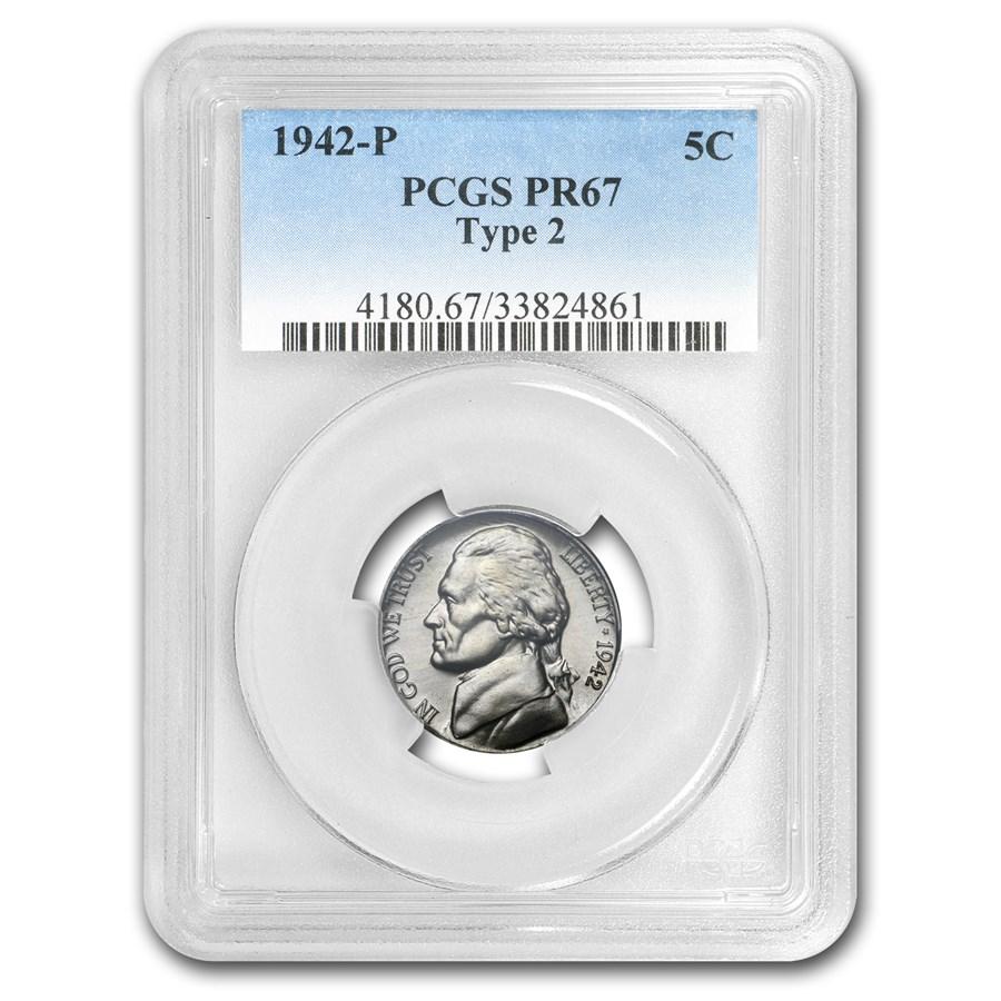 1942-P Silver Jefferson Nickel Type-II PR-67 PCGS