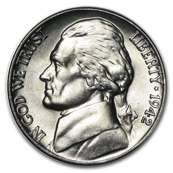 1942-P Silver Wartime Jefferson Nickel BU