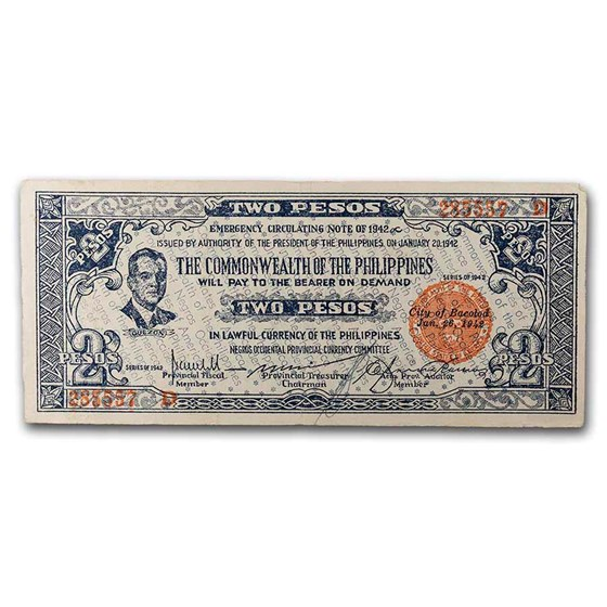 1942 Philippines Guerilla Currency 2 Pesos Note VF