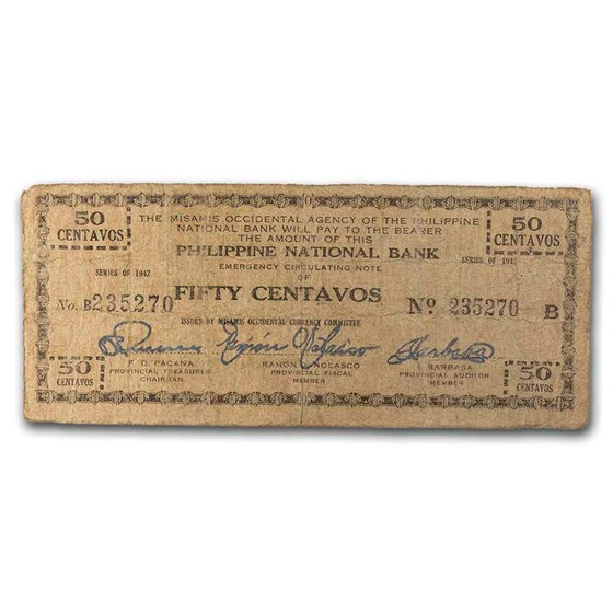 1942 Philippines Guerilla Currency 50 Centavos Note VF