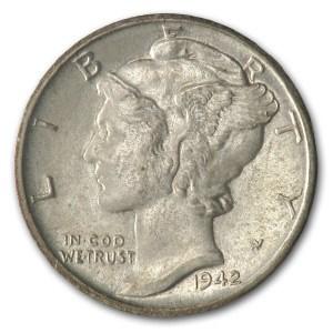 1942-S Mercury Dime AU