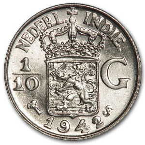 1942-S Netherlands East Indies Silver 1/10 Gulden BU