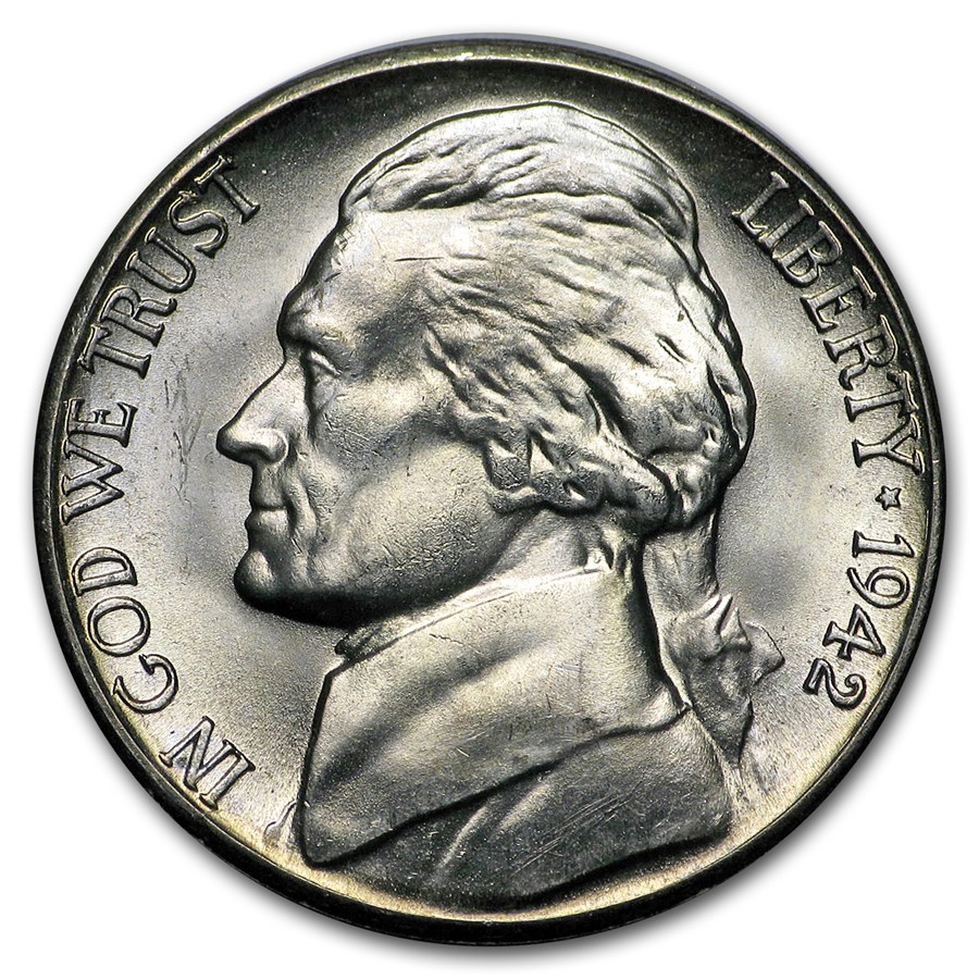 1942-S Silver Wartime Jefferson Nickel BU