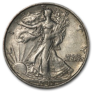 1942-S Walking Liberty Half Dollar AU
