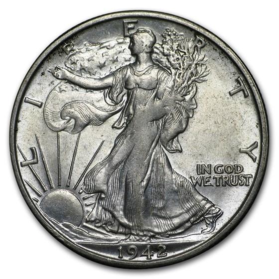 1942-S Walking Liberty Half Dollar BU