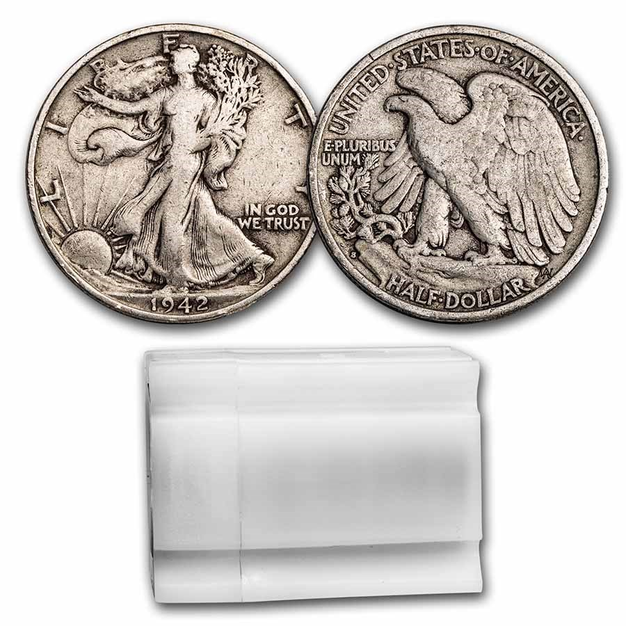 1942-S Walking Liberty Halves 20-Coin Roll Avg Circ