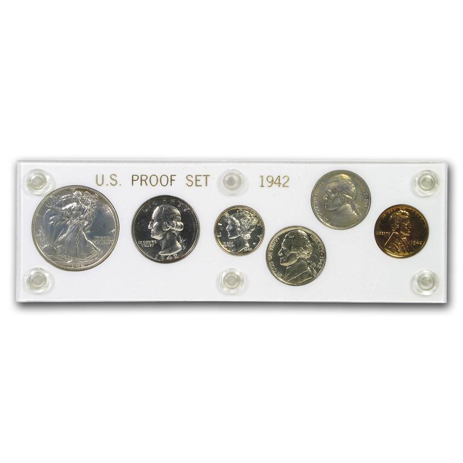 1942 U.S. Proof Set (6-coins, In Hard Capital Plastic Holder)