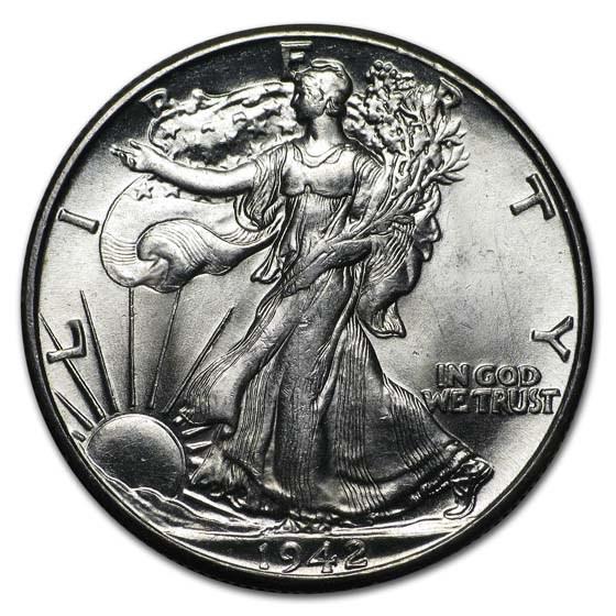 1942 Walking Liberty Half Dollar BU