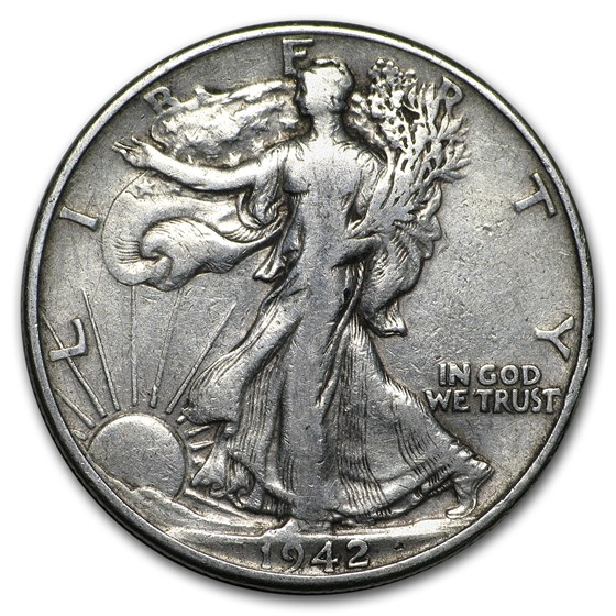 1942 Walking Liberty Half Dollar Fine/VF