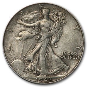 1942 Walking Liberty Half Dollar XF