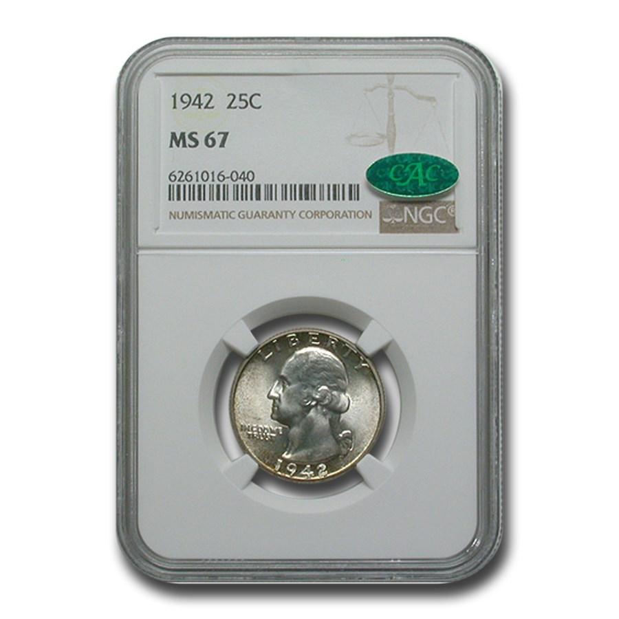 1942 Washington Quarter MS-67 NGC CAC