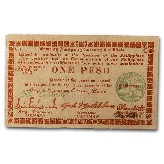 1943-1945 Philippines Guerilla Currency 1 Peso Note VF