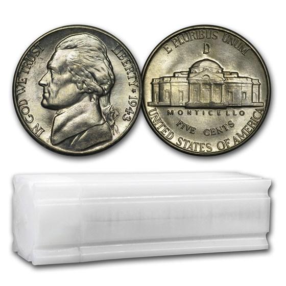 1943-D 35% Silver Wartime Jefferson Nickel Roll BU (40 ct)