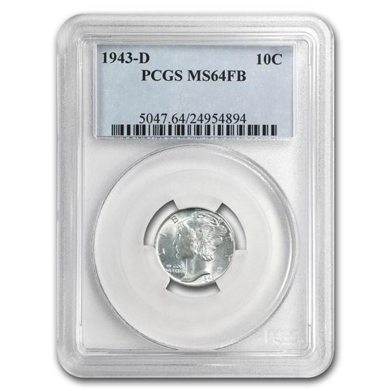 1943-D Mercury Dime MS-64 PCGS (FB)