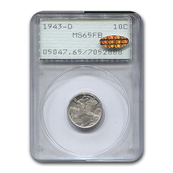1943-D Mercury Dime MS-65 PCGS Gold CAC (FB)