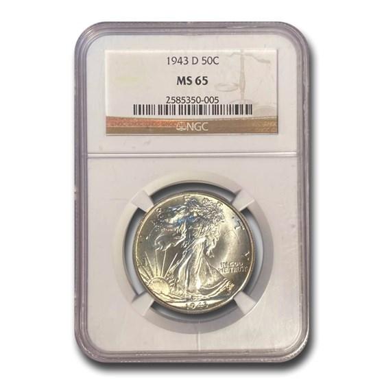 1943-D Walking Liberty Half Dollar MS-65 NGC