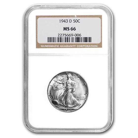 1943-D Walking Liberty Half Dollar MS-66 NGC