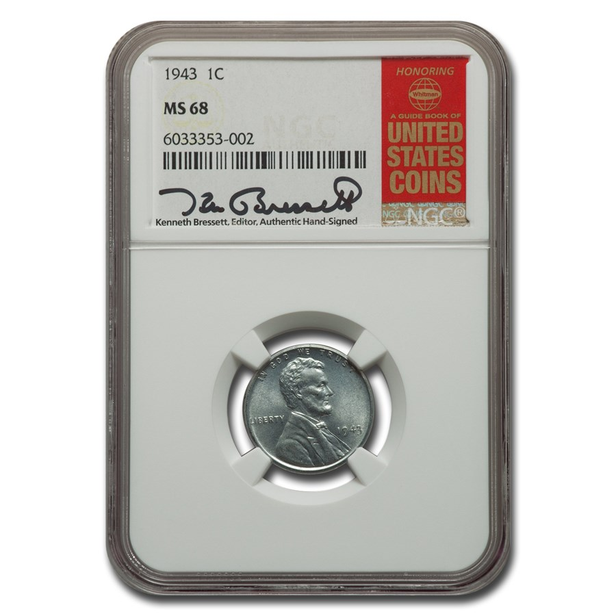 1943 Lincoln Cent MS-68 NGC