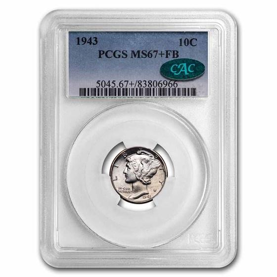 1943 Mercury Dime MS-67+ PCGS CAC (FB)