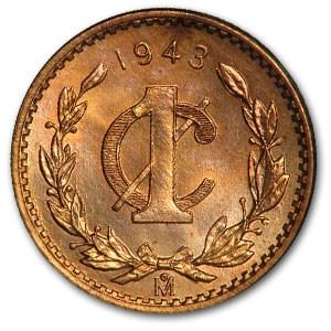 1943 Mexico Centavo Bronze BU Red KM#415