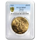 1943 Mexico Gold 50 Pesos MS-65 PCGS