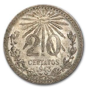 1943 Mexico Silver 20 Centavos BU