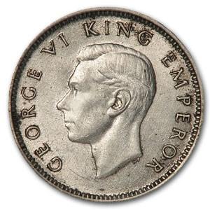 1943 New Zealand Silver 6 Pence Huia Bird AU