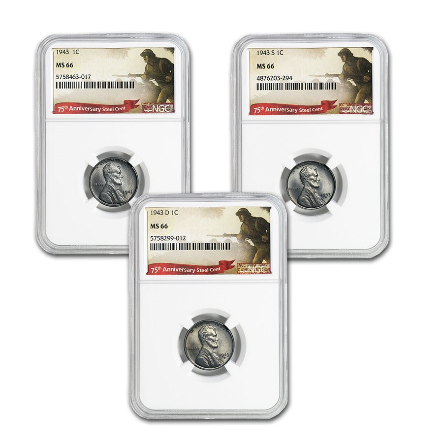 1943 P-D-S Lincoln Cent 3-Coin Set MS-66 NGC (75th Anniversary)