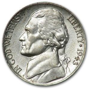 1943-P Silver Wartime Jefferson Nickel AU